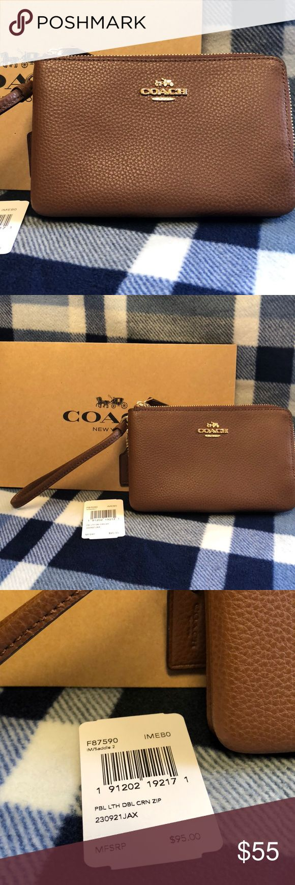 Brown Coach Wristlet Brand new, brown leather Coach wristlet.  Beautiful brown leather, very classic and an absolute wardrobe staple!  Two zippered compartments, one that my iPhone 8 fits perfectly.  Comes with a Coach gift box...a perfect gift! Coach Bags Clutches & Wristlets
