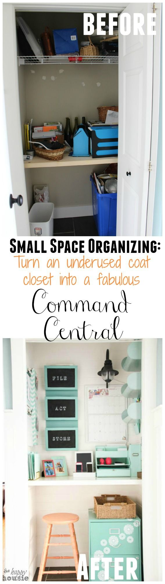 Get organized with a Command Center - we turned out unused coat closet into a place to tame the paperwork chaos of daily life with a Command Central Station - at The Happy Housie