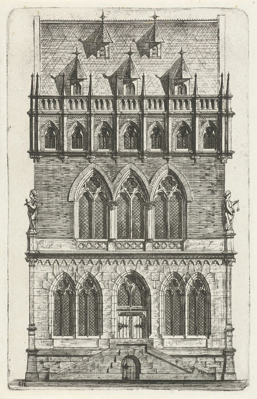 Cornelis Johan Laarman | Gotische gevel, Cornelis Johan Laarman, 1854 - 1889 | Vooraanzicht van een gotisch huis met aan weerszijden sculpturen.