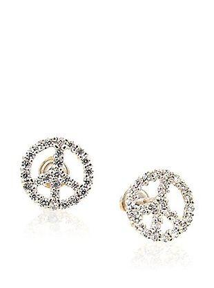 44% OFF Mindy Harris White Gold CZ Peace Earrings