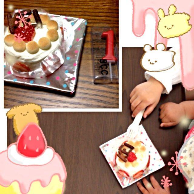 水曜日が姪の1歳の誕生日だったので、食パンと水切りヨーグルトでケーキ風なものを(^-^) 3歳のおねーちゃんがロウソク消して、すぐ食べる体勢にू(๑ ›◡ु‹ ๑ ू)ウケた - 21件のもぐもぐ - 1歳バースデーケーキ by みー