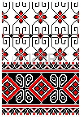 illustrations of ukrainian embroidery ornaments, patterns, frames and borders. Stock Vector