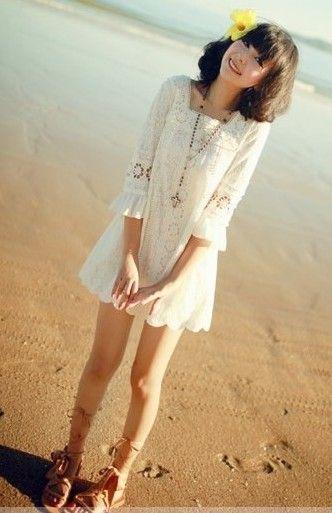 Lady Style Crochet Pattern Middle Sleeves White Lace Dress For Women (WHITE,FREE SIZE) China Wholesale - Sammydress.com
