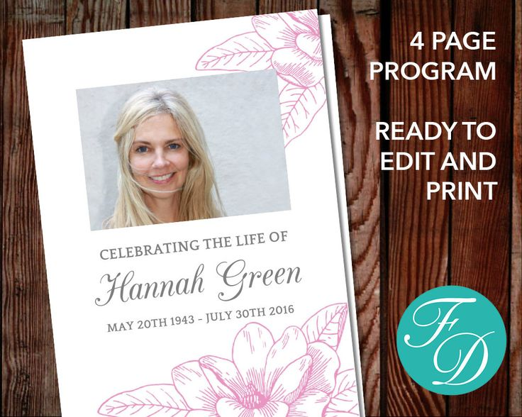Funeral Program Template, Order Of Service, Memorial Program, Memorial  Service  Funeral Program Background