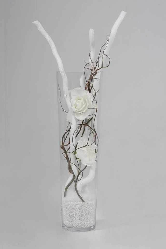Diy Pakket Decoratiesetje Witte Roos H 70 Cm Glazen Vaas Vaas Decoraties Vaas