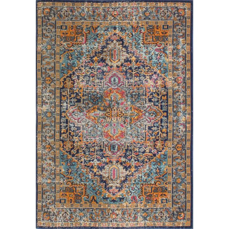 Round out your favorite aesthetic in global-inspired style with this eye-catching area rug, crafted from a mix of cotton and polypropylene. Its distressed details add a vintaged touch to your decor, while its vibrant dark blue hues pair perfectly with a hardwood floor for an accentuating look. Play up this piece's versatility by adding it to a boho chic living room ensemble alongside a mid-century inspired sofa and damask-pattern settee for an eye-catching arrangement, then anchor the spa...