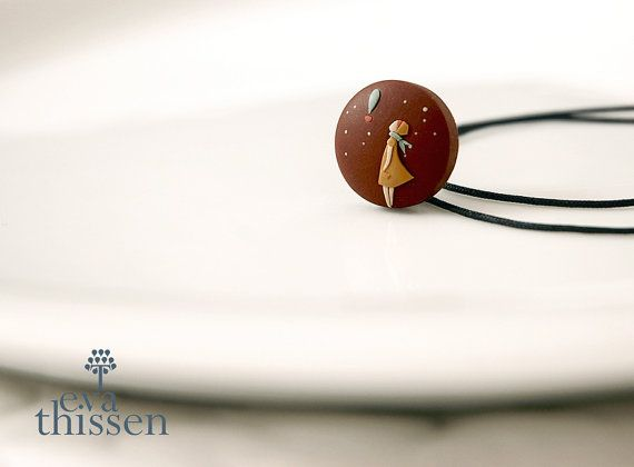 Adieu! Sweet little hand made polymer clay pendant. Made to order wearable art.