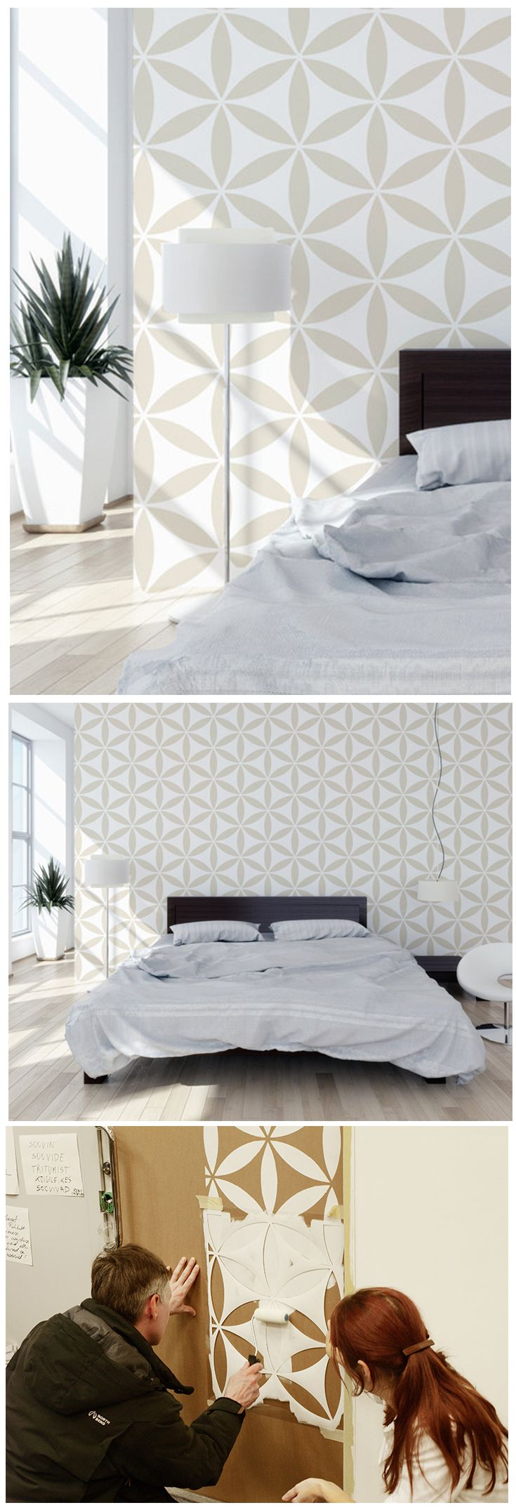 flower of the life ii decorative wall stencil for diy project wallpaper look easy home decor geometric stencil. beautiful ideas. Home Design Ideas