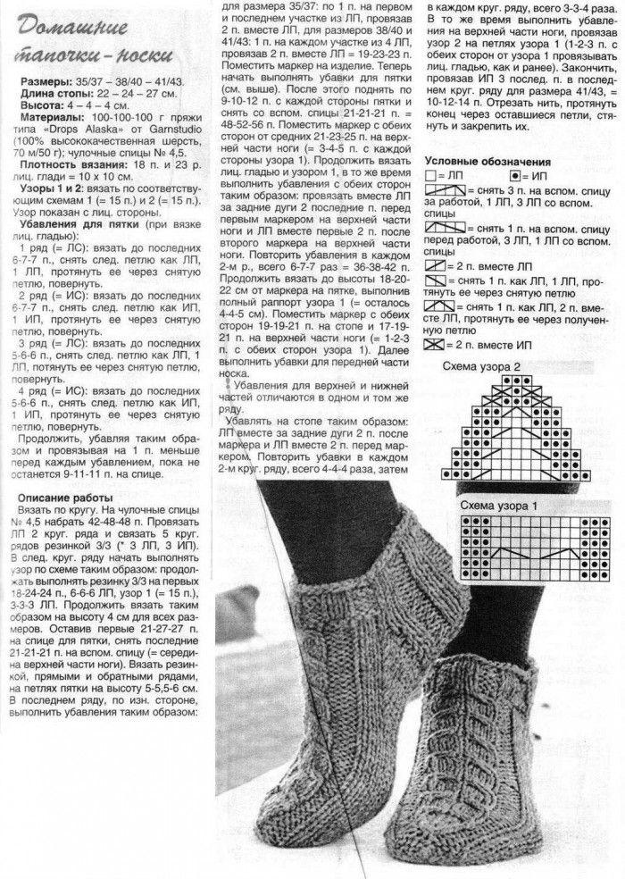 схема и описание вязания спицами женских носков