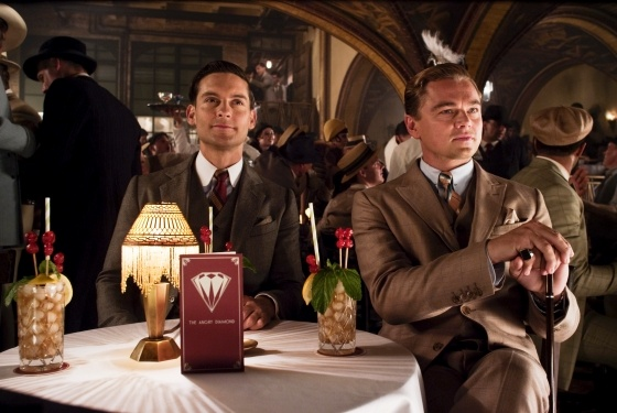 Tobey Maguire and Leonardo DiCaprio in their Brooks Brothers costumes for The Great Gatsby.