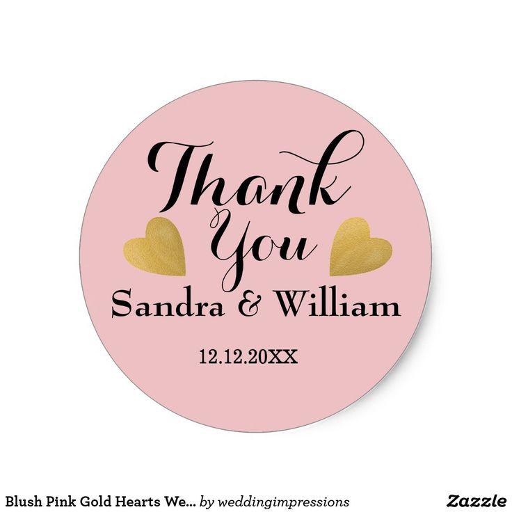 Blush pink gold hearts wedding thank you classic round sticker