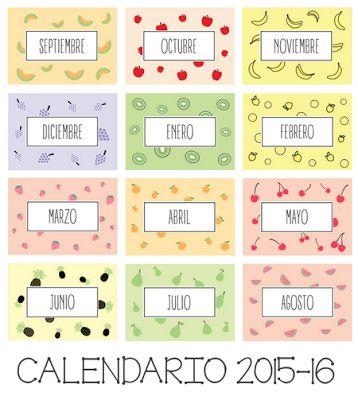 Actividades para Educación Infantil: Calendario escolar 15-16 para imprimir modelo 2