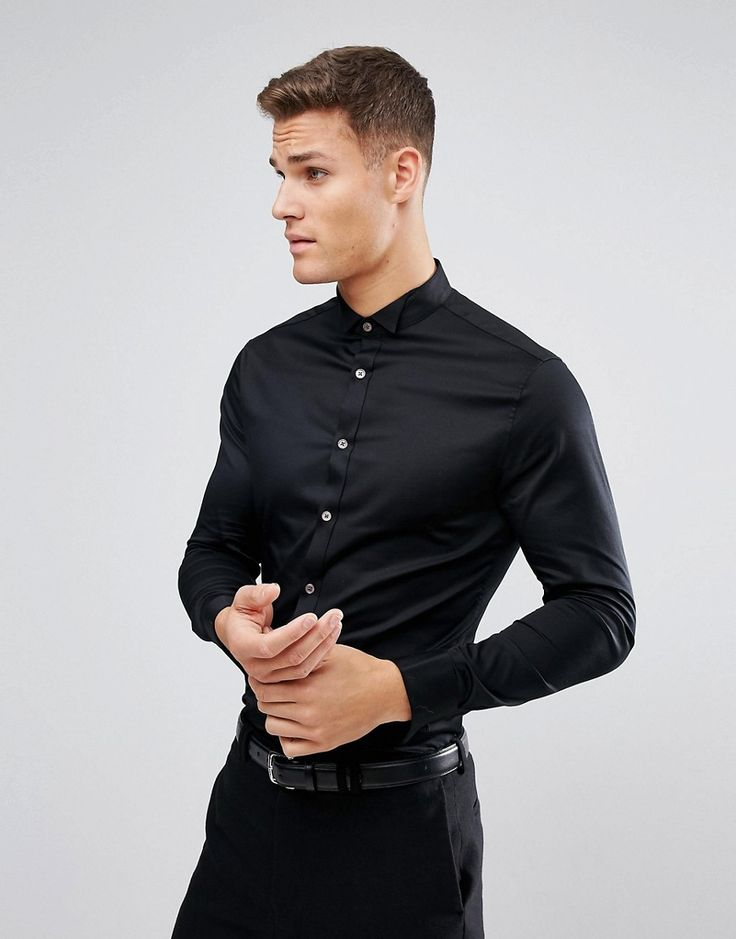 ASOS Skinny Sateen Shirt In Black With Wing Collar And Double Cuff - B