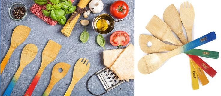 Bamboo Kitchen Cooking Utensils Set 5 Pcs Spoon Spatula Natural Colorful Handles #KitchenUtensilCookingSets