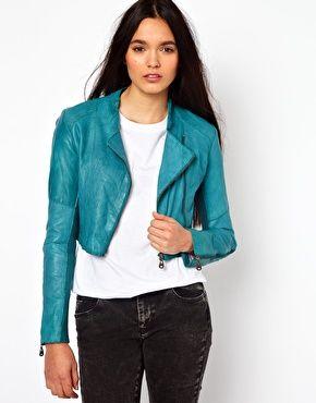 Doma Cropped Leather Biker Jacket