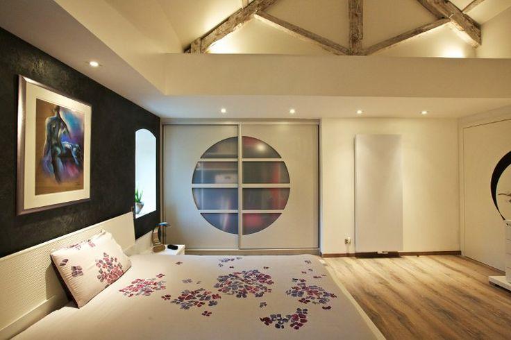 cloison japonaise dans une chambre coucher id e deco chambre 3 pinterest. Black Bedroom Furniture Sets. Home Design Ideas