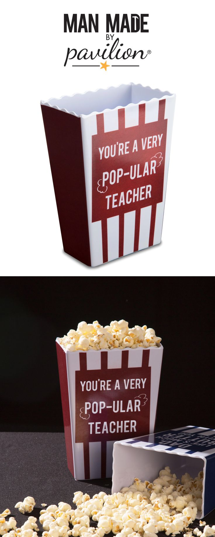 Man Made by Pavilion - You're A Very Popular Teacher - Red Striped Old Fashioned Melamine Popcorn Box - Teacher Gift - Movie Night