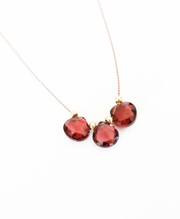 Gold Garnet Tear Drop Silk Cord Necklace Tiny Dainty Minimalist Layering Free USA Shipping - pinned by pin4etsy.com