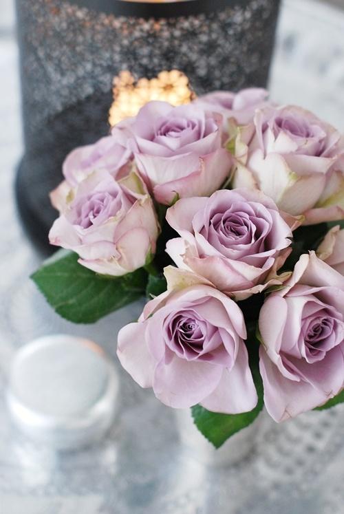 De här vackra pastellfärgade rosorna i lila är en härlig trend just nu. Tänk vattenfärgs färgade blommor och du är hemma :) Är vackra både som en del i en blandad bukett eller som på bilden, enbart rosor.
