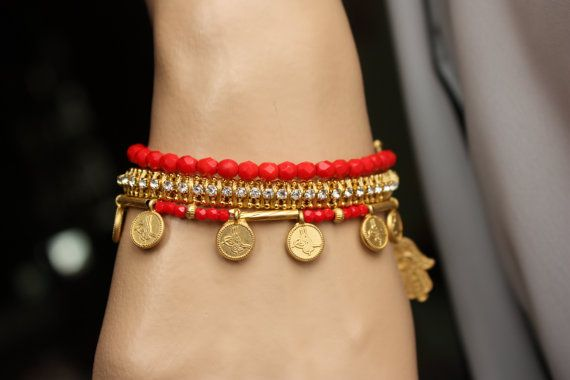 Turkish delight  3 PC Gold Bracelet Set by MonroeJewelry on Etsy