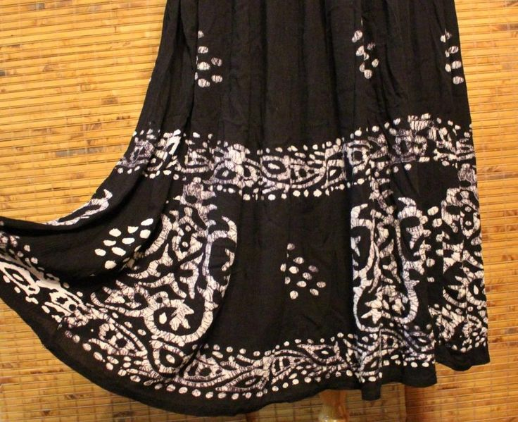 "Black Skirt Broomstick Boho Large Crinkle Long Relativity 33-46"" Stretch Waist #Relativity #PeasantBoho"