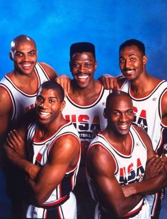 The great,original American Dream Team of the Olympics Basketball. First five.#TheAvengersOfTheOlympics#MJMagicBarkleyEwingMalone.