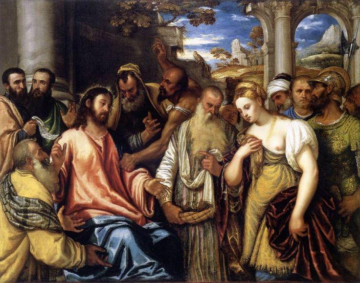 Polidoro da Lanciano Cristo y la adúltera MFA Budapest - Jesús y la mujer sorprendida en adulterio -