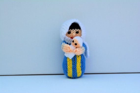 Knitted Nativity Virgin Mary Doll Baby Jesus by EdithGraceDesigns