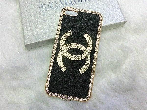 Bling Crystal Chanel iPhone 5 Case Golden Frame - Black