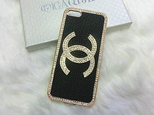 Bling Crystal Chanel iPhone 5 Case Golden Frame - Black