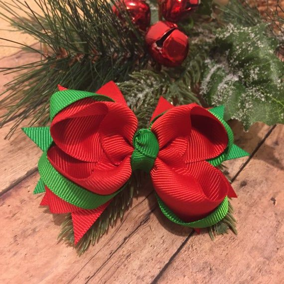 Small Christmas Bow Christmas Bow Holiday Bow Red And Green Hair Bow Basic Christmas Bow R Christmas Bows Holiday Bows Hair Bows