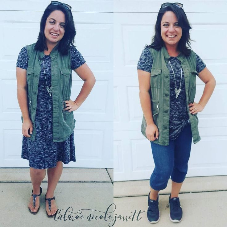 Busy busy day today but I love how versatile Lularoe is especially the Carly! Wore the outfit on the left to homeschool coop all day then tied up the Carly and put on capris to be at Tyler's football game as team medic! How have you styled from day to evening?