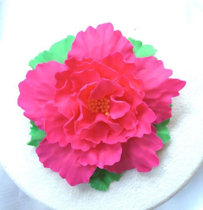 fondant flowers XL Fondant flowers hot pink Peony with leaves edible cake topper decorations vintage birthday handmade wedding bridal by InscribingLives (14.99 USD) http://ift.tt/1ihWwGa