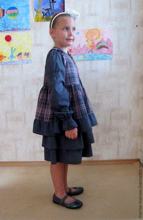 Одежда для девочек, ручной работы. Школьная форма БОХО. Целый мир из ткани. Интернет-магазин Ярмарка Мастеров. В клеточку