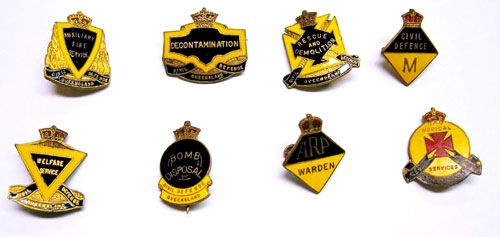 These badges were used to identify the different officers and branches of the Civil Defence Department during WWII. Queensland police wore ARP on their metal helmets and were in charge of the training of all the civilian Air Raid Wardens. (Warden, Rescue and Demolition, Medical Services, 'M' Mechanic, Decontamination, Welfare Service, Bomb Disposal, Auxiliary Fire Service)
