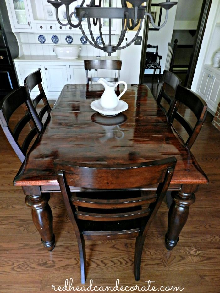 Black Painting Dining Table With Stained Top Gives It A More Country Casual Feel