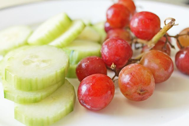 Cucumber and Grapes for healthy snacking (from Clean Eating Weight Loss Meal Plan 212)