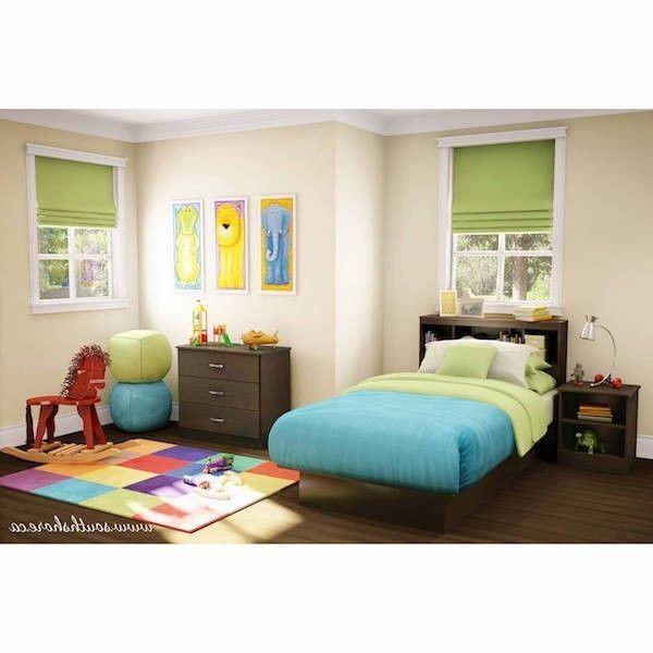 Ensemble de meubles de chambre à coucher moderne avec deux lits jumeaux, cadre en bois brun, …