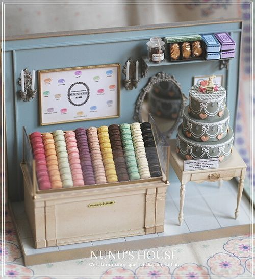 Miniature Laduree bakery shelves