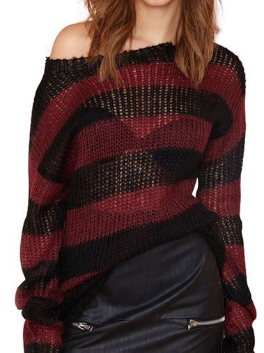 Charming O-Neck Full Sleeve Stripes Loose Knitted Women Pullover Sweater on buytrends.com
