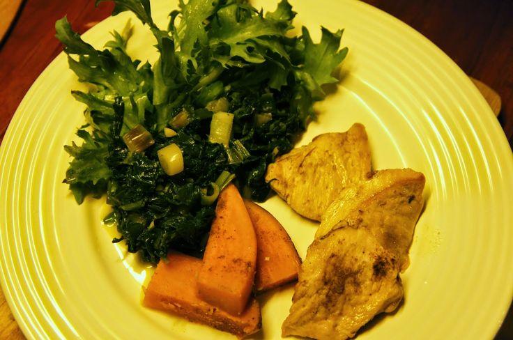 Elmira paleo konyhája: Fűszeres csirke édesburgonyával és zsenge spenótta...