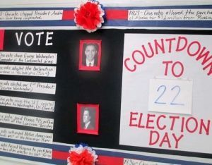 Election bulletin board idea for counting down to election day