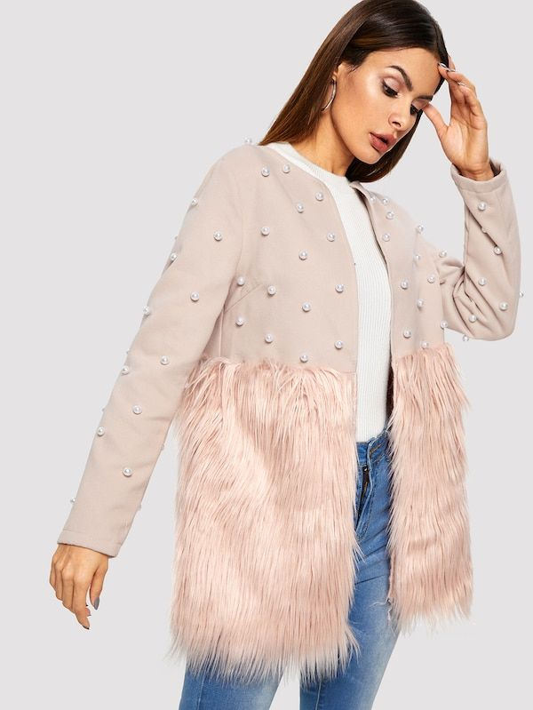 00e4792cbd Pearl Embellished Faux Fur Coat -SheIn(Sheinside) | :: >> Just ...