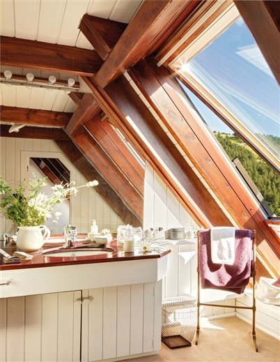 Attic bath in whitewashed mountain home; Mary Lladó: Bath Room, Dreams Bathroom, Bath, Whitewash Mountain, Beautiful Windows, Mountain Lodge, Mountain Home, Bathroom Decor, Attic Bathroom