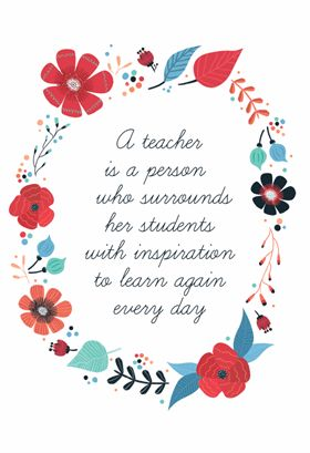 """""""Inspired Teaching"""" printable card. Customize, add text and photos. Print for free!"""