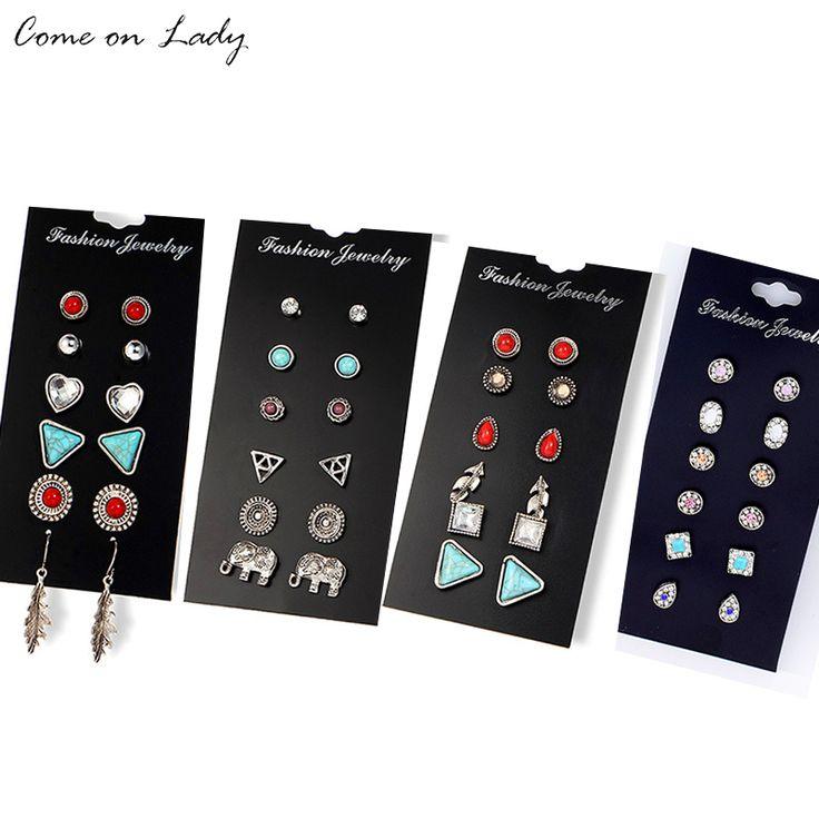 6pairs/ set Vintage Rhinestone Earrings For Women Stone Beads Ear Cuff Piercing Ears Clips Love Party Earring Er245-248 #Affiliate