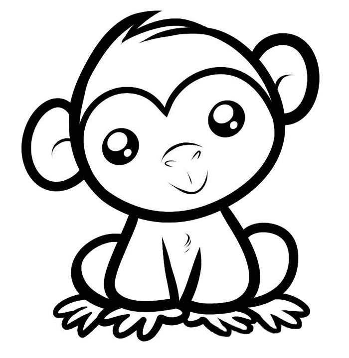 Easy Coloring Pages For Kids And Toddler Free Coloring Sheets Easy Animal Drawings Monkey Coloring Pages Monkey Drawing Cute