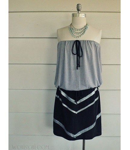 Tutorial: You can easily make this strapless chevron t-shirt dress out of a couple of basic tee shirts.Quick & easy tutorial it only requires a few basic seams & some painting to create the chevron design on the skirt.