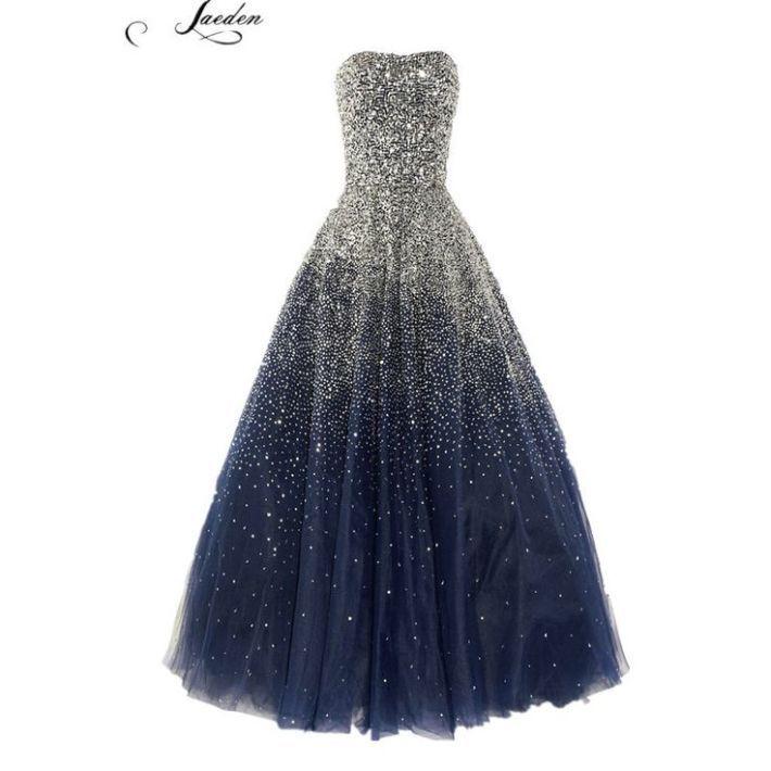 Tendance robes de soirée : L295 mode bleu noir perles luxuru longues robes de soirée 2015 femmes formelles du parti de bal robes taille personnalisée  plus la taille dans Robes de soirée de Mariages et événements sur AliExpress.com | Alibaba Group