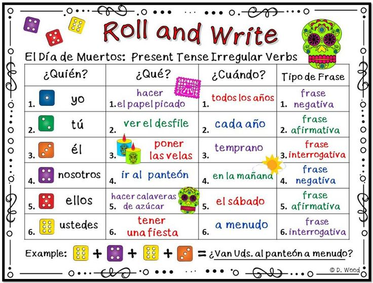 "Students will have fun writing Spanish sentences with these engaging Day of the Dead ""Roll and Write Activity Boards"". All the verbs on the boards have been specifically chosen to reinforce your Day of the Dead lessons."